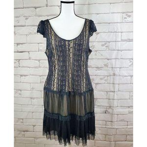 Pinky Lace Black and Beige Flapper Dress